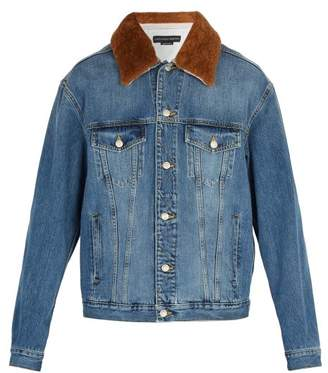 Alexander McQueen Shearling Denim Jacket - Mens - Denim