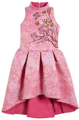 Zoe & Morgan Zoe Morgan Metallic High-Low Dress w/ 3D Floral Applique, Size 7-16