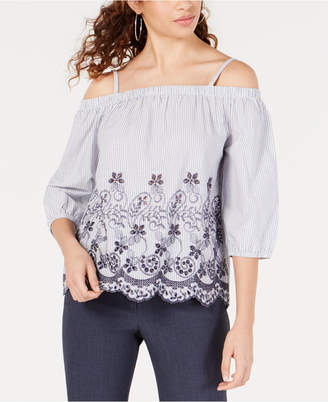 BCX Juniors' Striped Eyelet Off-The-Shoulder Top