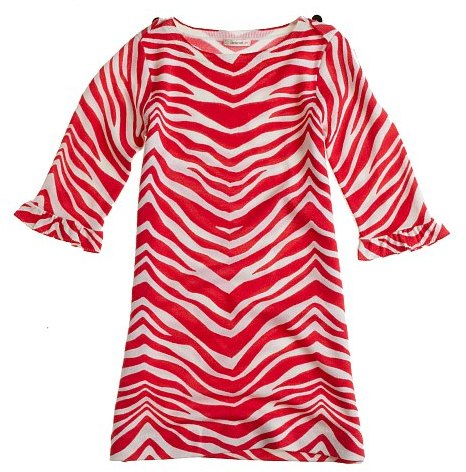 Girls' zebra-print merino sweater dress