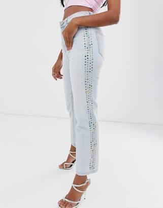 Miss Sixty high rise slim jean with rhinestone detail