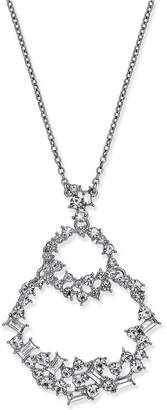 "INC International Concepts I.n.c. Silver-Tone Crystal Double Loop Pendant Necklace, 28"" + 3"" extender, Created for Macy's"