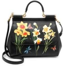 Dolce & Gabbana Sicily Floral Leather Top Handle Bag