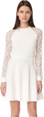 alice + olivia Blake Lace Raglan Sleeve Dress $385 thestylecure.com