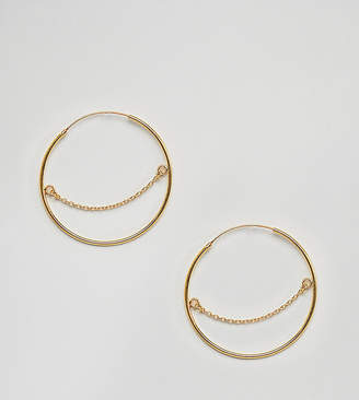 Asos DESIGN gold plated sterling silver hoop earrings with chain detail