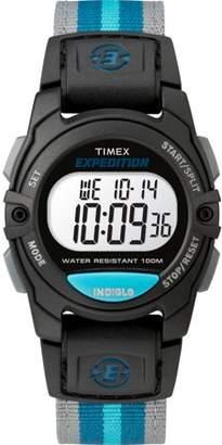 Timex Unisex Expedition Mid-Size Digital CAT Black/Gray/Blue Watch, Nylon Strap