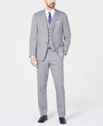 dfb824f0aa Perry Ellis Men Slim-Fit Stretch Wrinkle-Resistant Light Gray Tonal Grid Vested  Suit