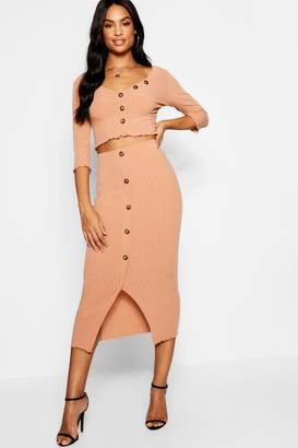 boohoo Tall Button Front Rib Co-ord Set