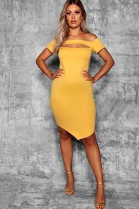 boohoo Plus Bardot Bodycon Midi Dress