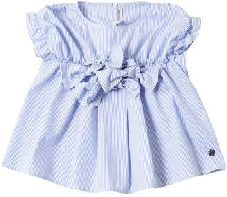 Simonetta Striped Cotton Poplin Shirt W/ Bows