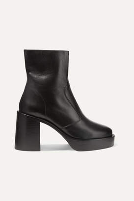 Simon Miller Low Raid Leather Platform Ankle Boots - Black