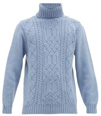 Inis Meáin Aran Patterned Merino Wool Roll Neck Sweater - Mens - Light Blue