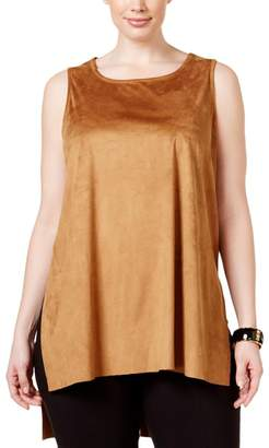 Alfani Womens Plus Faux Suede Sleeveless Tank Top Brown
