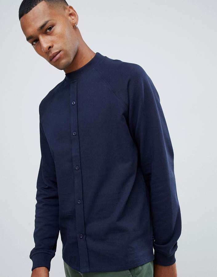 ASOS DESIGN sweatshirt with shirt front in navy