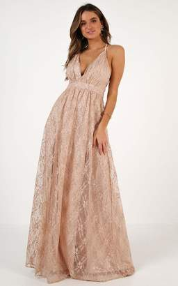 Showpo Crystal Maiden maxi dress in rose gold sequin