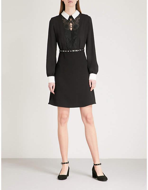 Lace-trim crepe dress