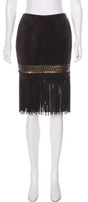 Lafayette 148 Suede Fringe Skirt