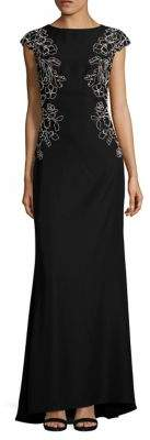 Tadashi Shoji Trompe l Oeil Embroidered Gown $479 thestylecure.com