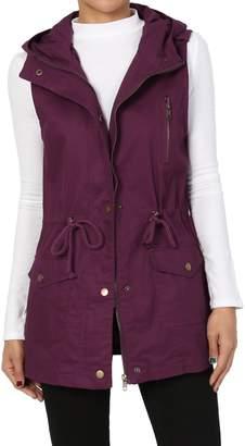 TheMogan Women's Military Drawstring Waist Loose Fit Utility Hoodie Vest Olive L