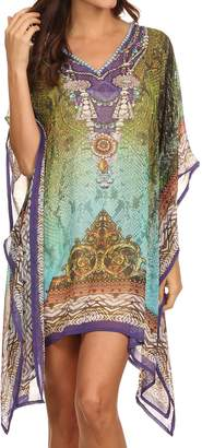 21755 Sakkas Tala Rhinestone Accented Multicolored Sheer Caftan Top / Cover Up - OS