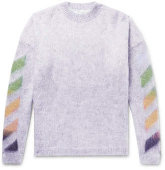 Off-White Oversized Printed Mohair-Blend Sweater