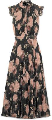 Erdem Roisin Floral-print Fil Coupé Crepon Midi Dress - Black