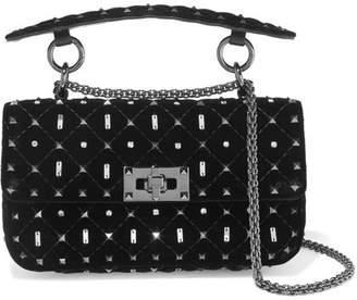 Valentino Garavani The Rockstud Spike Small Quilted Velvet Shoulder Bag - Black