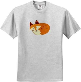 3dRose Janna Salak Designs Woodland Creatures - Cute Sleeping Red Fox - T-Shirts - Youth Birch-Gray-T-Shirt Med(10-12)