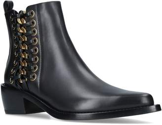 Alexander McQueen Cuban Braided Chain Ankle Boots