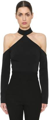 David Koma Cady Cut Out Wool Crop Top