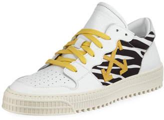 Off-White Men's 3.0 Polo Mid-Top Zebra-Print Leather Sneakers