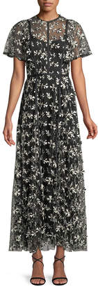 Lela Rose Short-Sleeve Floral-Embroidered Fit-and-Flare Long Dress