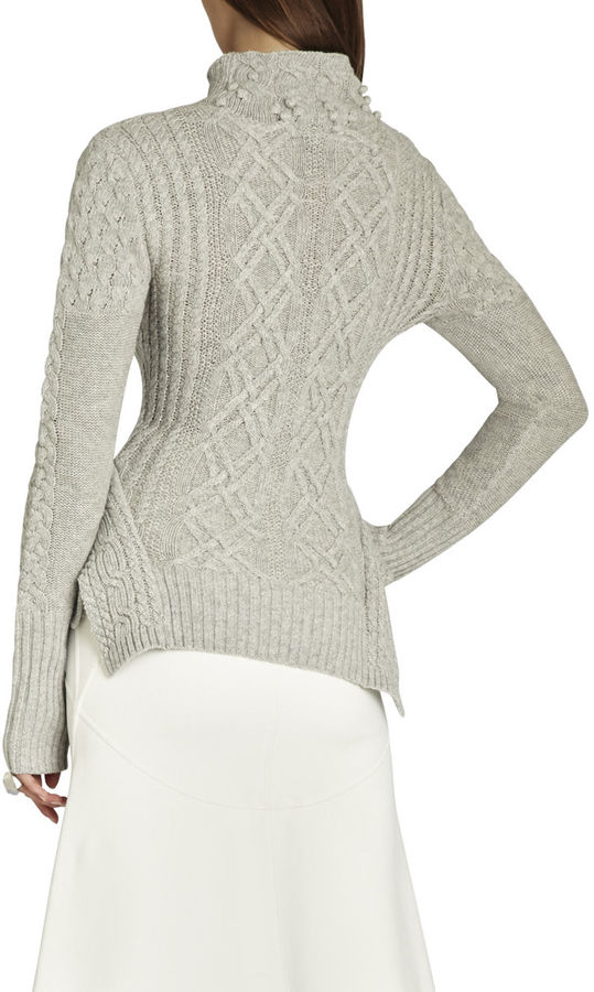BCBGMAXAZRIA Maylin Cable Turtleneck Sweater