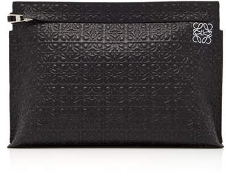 Loewe T Embossed Leather Clutch