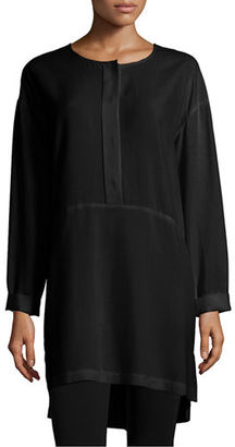 Go Silk Long-Sleeve High-Low Silk Tunic $228 thestylecure.com