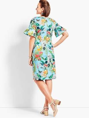 Talbots Botanical Flounce-Sleeve Sheath Dress