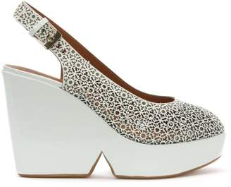 Robert Clergerie Dyser White Patent Leather Laser Cut Wedge Sandals