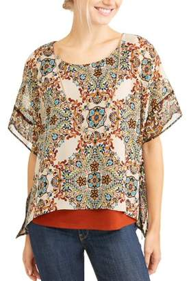Lifestyle Attitude Women's Dolman Sleeve Top with Necklace