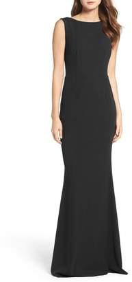 Katie May Vionnet Drape Back Crepe Gown
