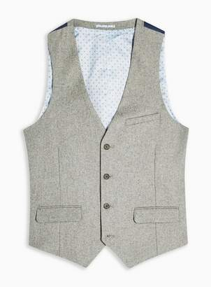 Topman Mens Harry Brown Grey Textured Five Button Slim Fit Suit Waistcoat
