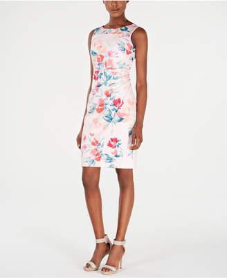 Calvin Klein Petite Floral-Print Starburst Sheath Dress