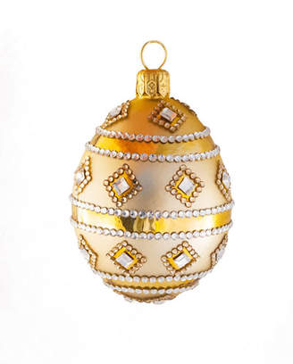 Patricia Breen Medium Egg Stripe and Crystal Ornament
