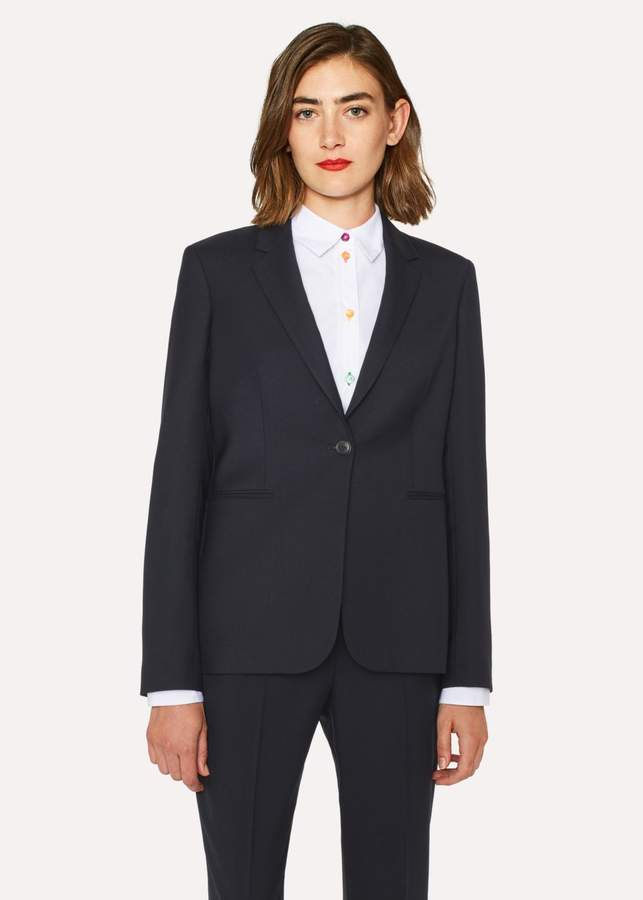 A Suit To Travel In - Women's Navy One-Button Wool Blazer