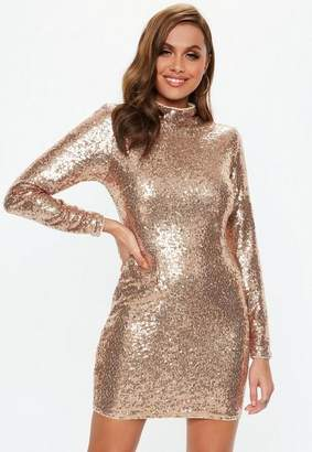 Missguided Gold High Neck Sequin Mini Dress