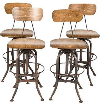Set of 4 Industrial Counter Stools