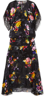 Preen by Thornton Bregazzi Leonora Floral-print Devoré Silk-blend Chiffon Midi Dress - Black