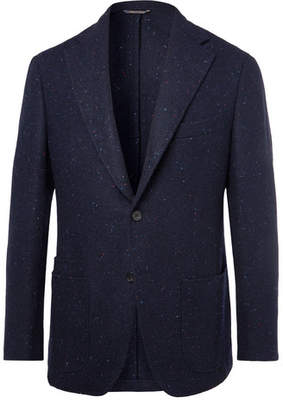 Drakes Drake's Navy Slim-Fit Unstructured Harris Tweed Blazer