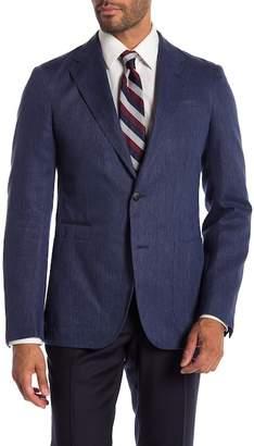 Ermenegildo Zegna Giacca Formale Blue Herringbone Two Button Notch Lapel Classic Fit Blazer