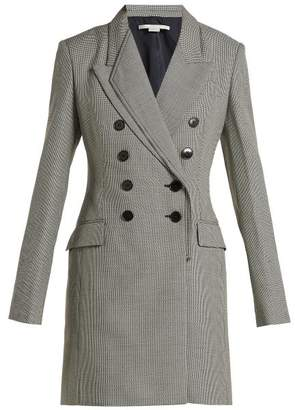 Stella McCartney Double Breasted Houndstooth Wool Dress - Womens - Grey