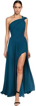 Elie Saab One Shoulder Crepe Georgette Long Dress